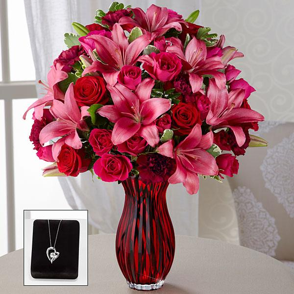 The FTD® Lasting Romance® Bouquet with Heart Pendant