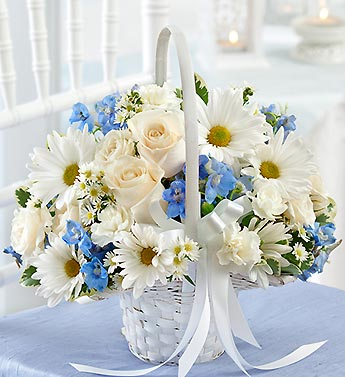 Denver florist le grues flowers blue and white flower girl basket blue and white flower girl basket mightylinksfo