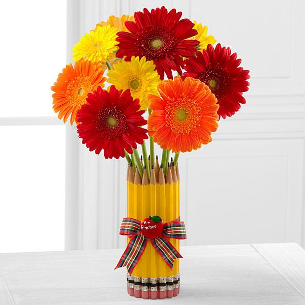 Back to School Best Gerbera Daisy Bouquet - VASE INCLUDED