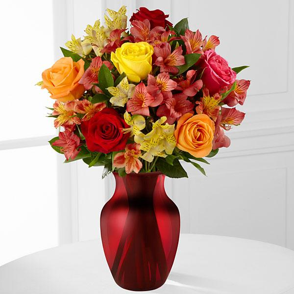 Gratitude Blooms Mixed Bouquet - RED VASE Included