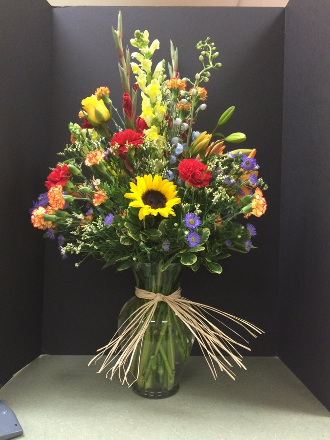 Summery Wildflower Bouquet with Raffia
