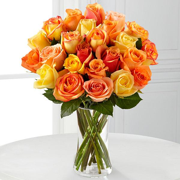 Sun-Drenched Summer Rose Bouquet - 12 Stems - VASE INCLUDED