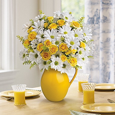 Sunny Day Pitcher of Daisies