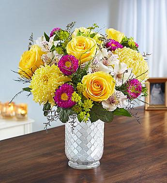 Beaming Sunshine in White Mosaic Vase